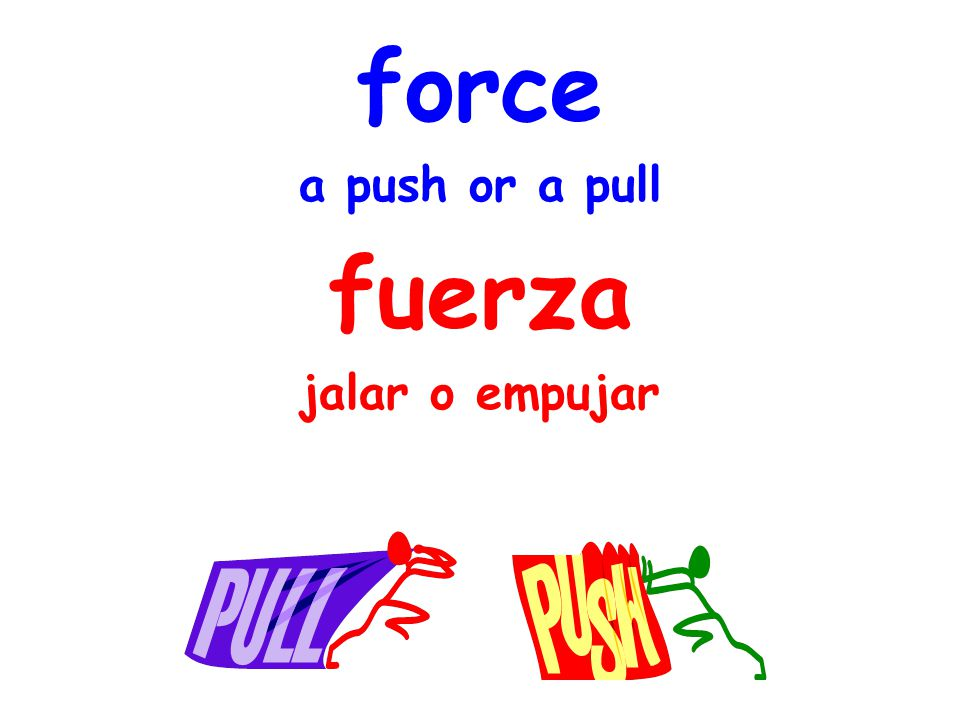 force a push or a pull fuerza jalar o empujar