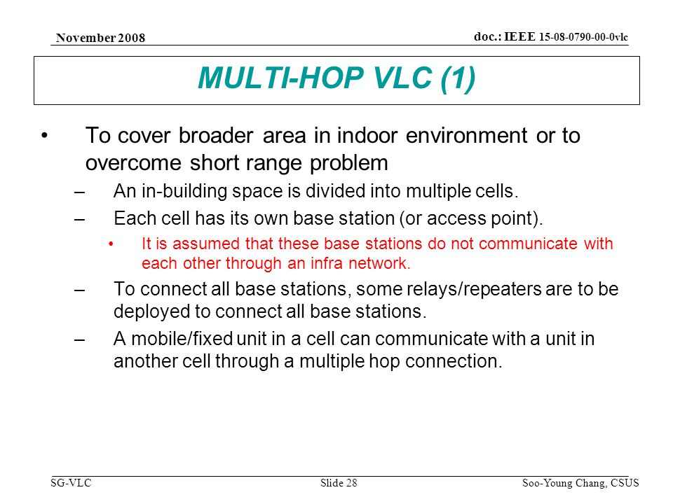 November 2008 Soo-Young Chang, CSUS Slide 28 doc.: IEEE 15-08-0790-00-0vlc SG-VLC MULTI-HOP VLC (1) To cover broader area in indoor environment or to overcome short range problem –An in-building space is divided into multiple cells.