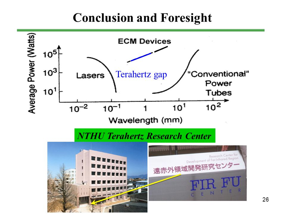 26 Conclusion and Foresight Terahertz gap NTHU Terahertz Research Center
