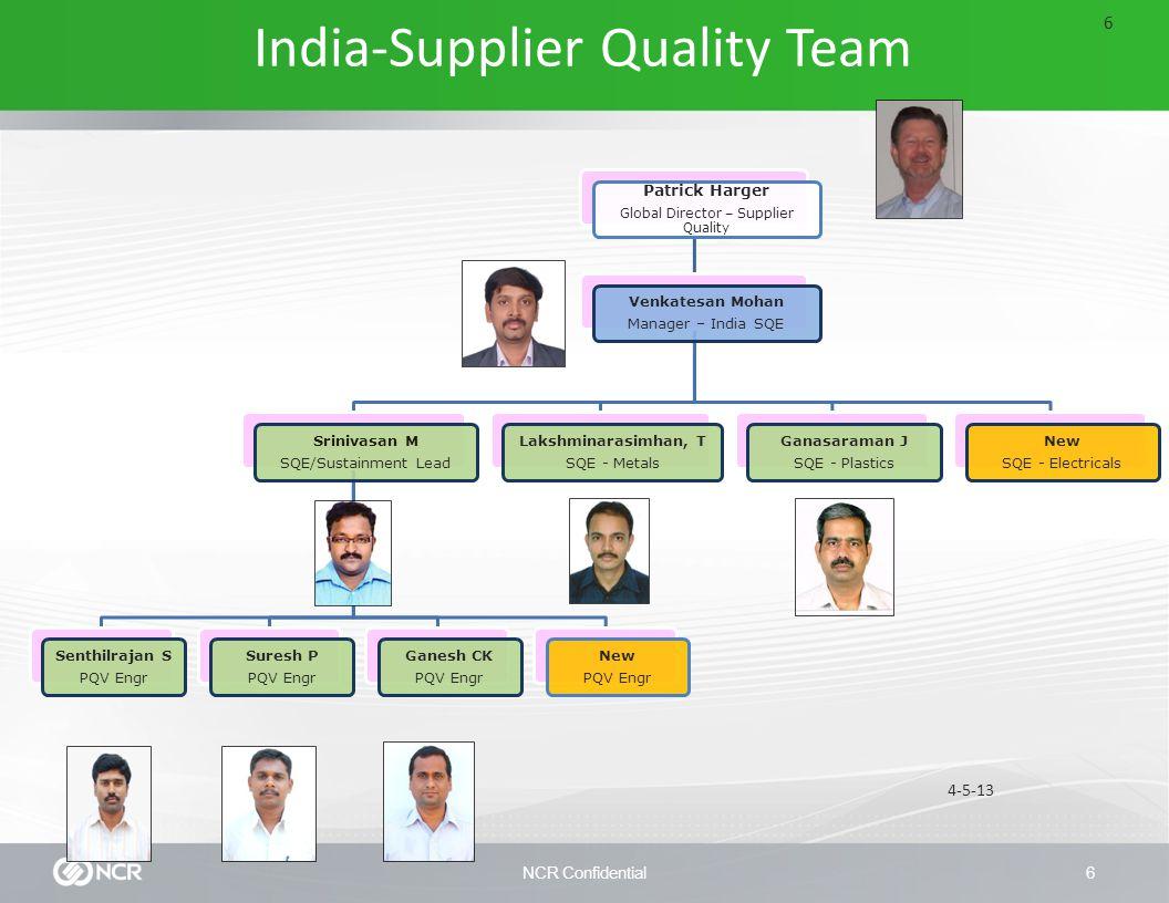 NCR Confidential6 Patrick Harger Global Director – Supplier Quality Venkatesan Mohan Manager – India SQE Srinivasan M SQE/Sustainment Lead Senthilrajan S PQV Engr Suresh P PQV Engr Ganesh CK PQV Engr New PQV Engr Lakshminarasimhan, T SQE - Metals Ganasaraman J SQE - Plastics New SQE - Electricals 4-5-13 India-Supplier Quality Team 6