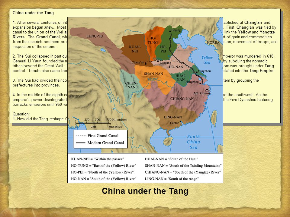 China under the Tang 1. After several centuries of internal division, China was united under the Sui dynasty (581-618). The capital was re-established