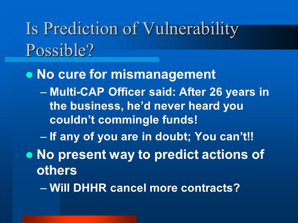 Is Prediction of Vulnerability Possible.