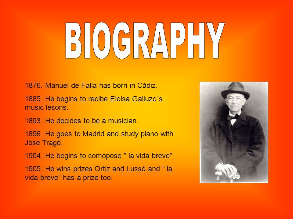 1876. Manuel de Falla has born in Cádiz. 1885. He begins to recibe Eloisa Galluzo´s music lesons.
