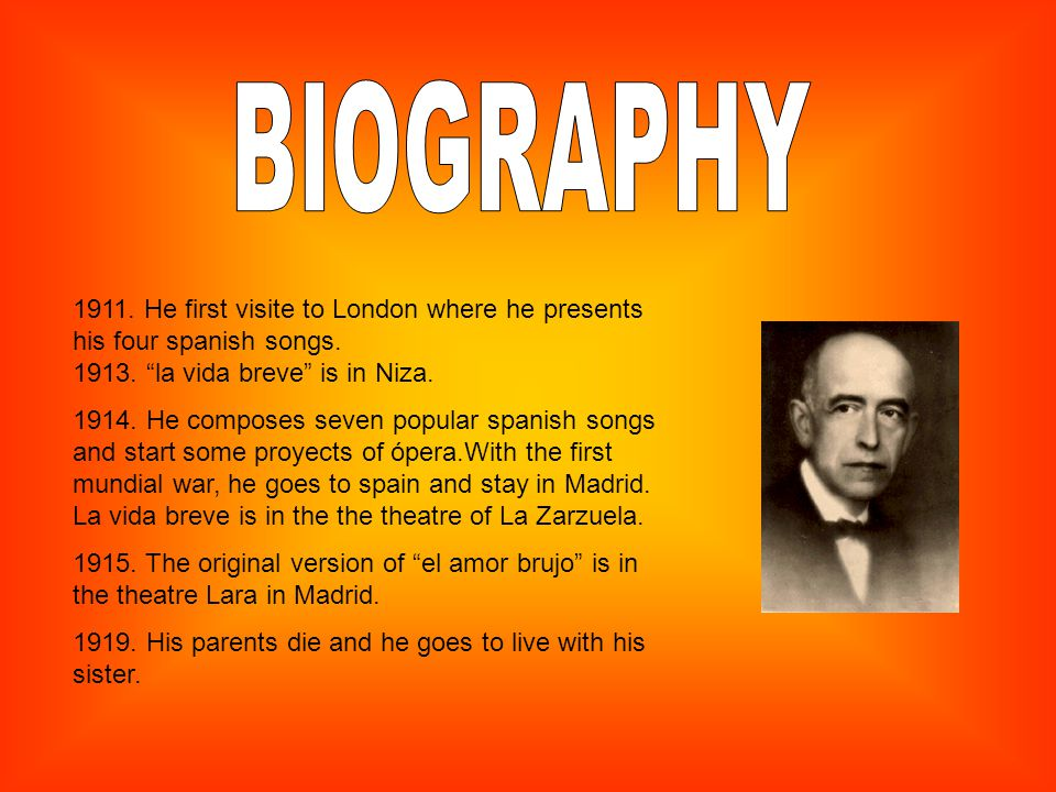 1911. He first visite to London where he presents his four spanish songs.