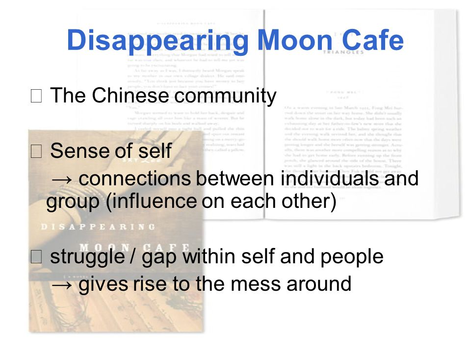 Disappearing Moon Cafe ★ The Chinese community ★ Sense of self → connections between individuals and group (influence on each other) ☆ struggle / gap