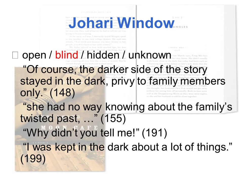 "Johari Window ☆ open / blind / hidden / unknown ""Of course, the darker side of the story stayed in the dark, privy to family members only."" (148) ""she"