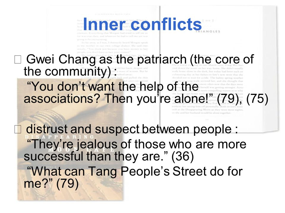"Inner conflicts ☆ Gwei Chang as the patriarch (the core of the community) : ""You don't want the help of the associations? Then you're alone!"" (79), (7"
