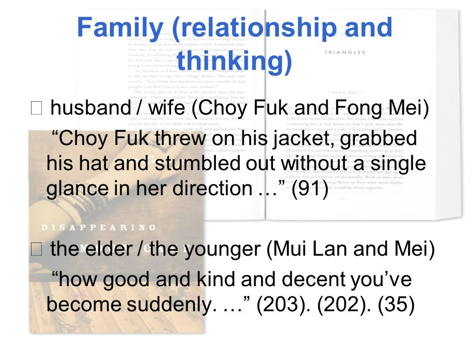 "Family (relationship and thinking) ☆ husband / wife (Choy Fuk and Fong Mei) ""Choy Fuk threw on his jacket, grabbed his hat and stumbled out without a"