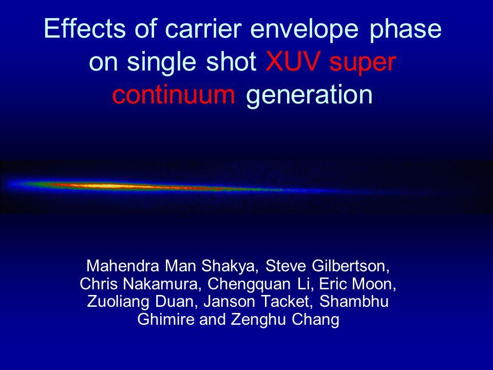 Effects of carrier envelope phase on single shot XUV super continuum generation Mahendra Man Shakya, Steve Gilbertson, Chris Nakamura, Chengquan Li, Eric Moon, Zuoliang Duan, Janson Tacket, Shambhu Ghimire and Zenghu Chang 200