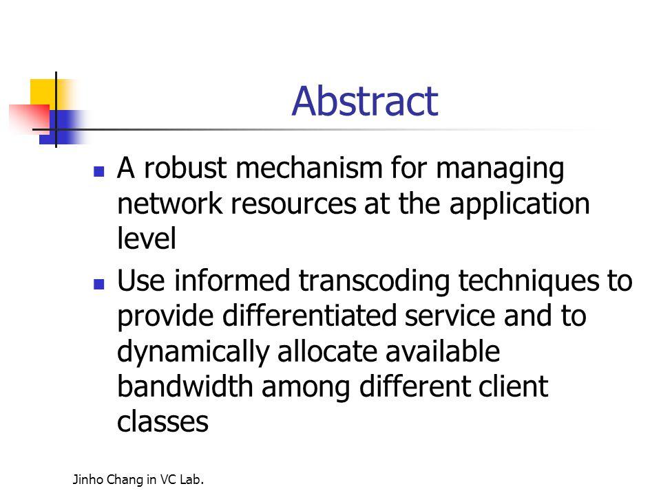 Jinho Chang in VC Lab. Target bandwidth 1MB,average bandwidth demended at 1.5MB