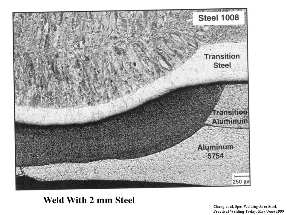 Chang et al, Spot Welding Al to Steel, Practical Welding Today, May/June 1999 Weld With 2 mm Steel