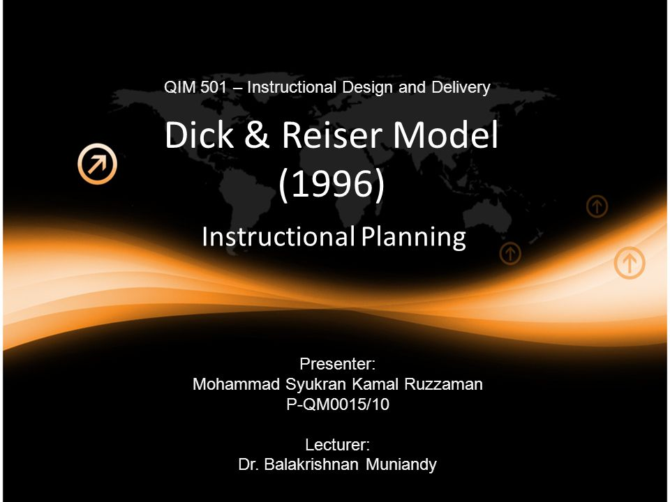 Dick & Reiser Model (1996) Instructional Planning Presenter: Mohammad Syukran Kamal Ruzzaman P-QM0015/10 Lecturer: Dr.