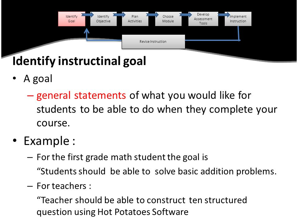 Identify instructinal goal A goal – general statements of what you would like for students to be able to do when they complete your course. Example :
