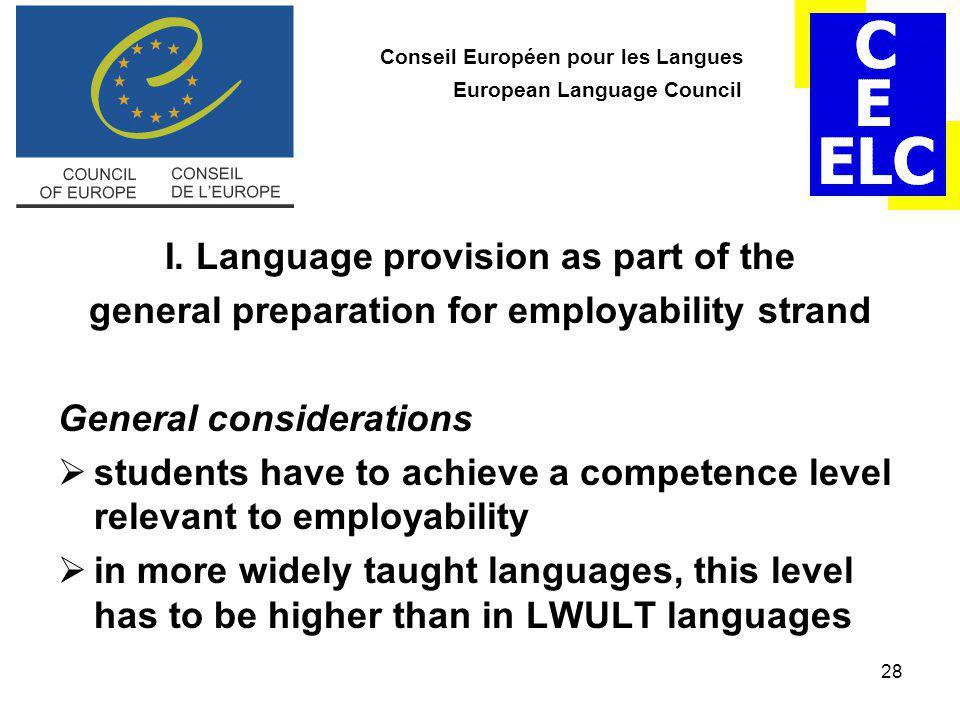 28 Conseil Européen pour les Langues European Language Council I.