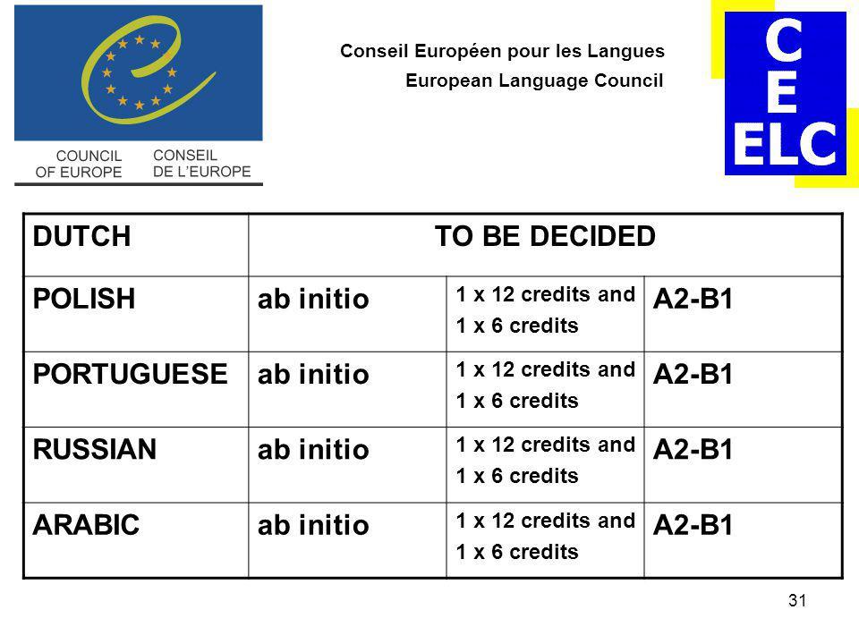 31 Conseil Européen pour les Langues European Language Council DUTCHTO BE DECIDED POLISHab initio 1 x 12 credits and 1 x 6 credits A2-B1 PORTUGUESEab initio 1 x 12 credits and 1 x 6 credits A2-B1 RUSSIANab initio 1 x 12 credits and 1 x 6 credits A2-B1 ARABICab initio 1 x 12 credits and 1 x 6 credits A2-B1