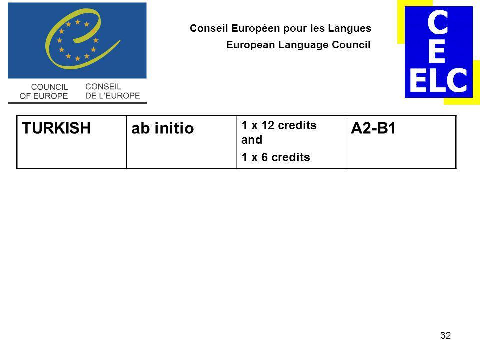 32 Conseil Européen pour les Langues European Language Council TURKISHab initio 1 x 12 credits and 1 x 6 credits A2-B1