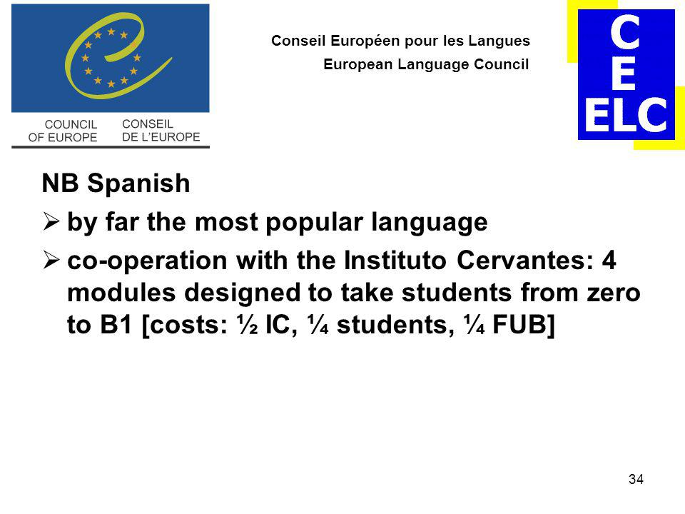 34 Conseil Européen pour les Langues European Language Council NB Spanish  by far the most popular language  co-operation with the Instituto Cervantes: 4 modules designed to take students from zero to B1 [costs: ½ IC, ¼ students, ¼ FUB]