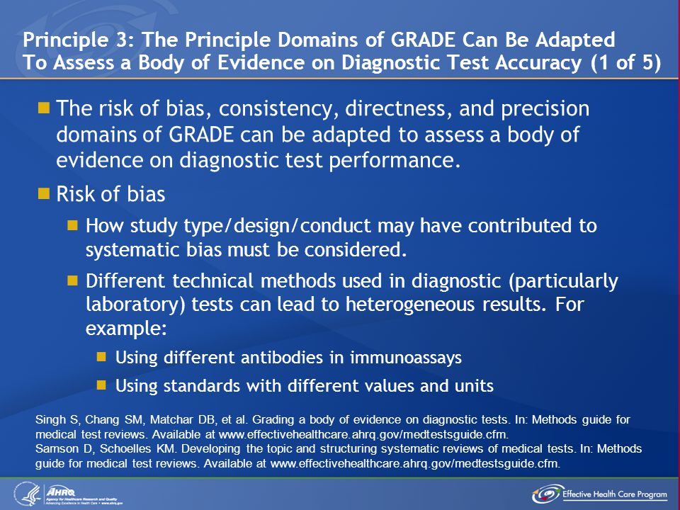  The risk of bias, consistency, directness, and precision domains of GRADE can be adapted to assess a body of evidence on diagnostic test performance.