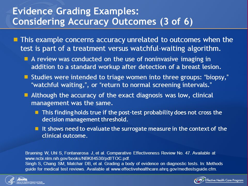  This example concerns accuracy unrelated to outcomes when the test is part of a treatment versus watchful-waiting algorithm.