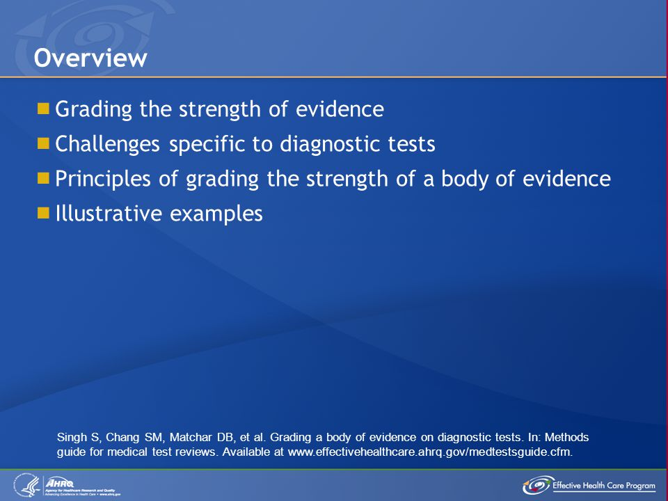  Grading the strength of evidence  Challenges specific to diagnostic tests  Principles of grading the strength of a body of evidence  Illustrative examples Overview Singh S, Chang SM, Matchar DB, et al.