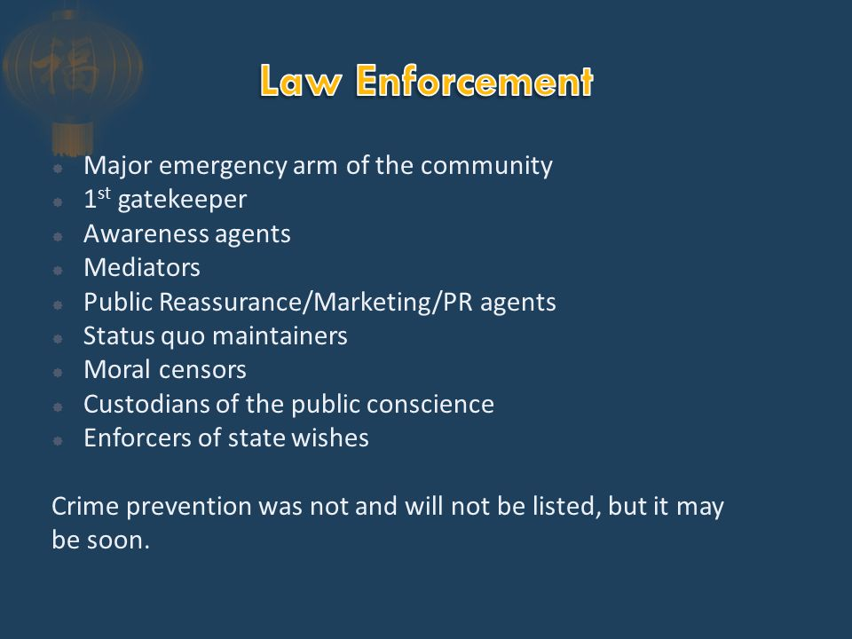  Re-affirmed the first three points of the Wickersham Commission:  Get the police out of politics  Train the police  Screen applicants  Added an educational component  Rejected the kinetic, law enforcer model for a social service/due process orientation