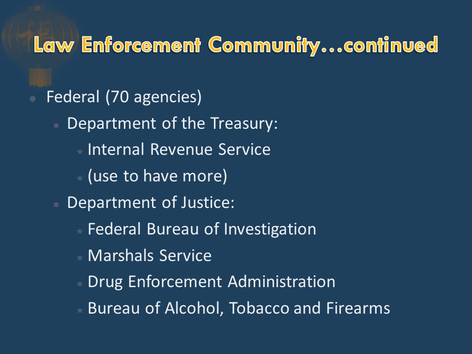  Department of Homeland Security:  Secret Service  Customs and Border Protection  Citizenship and Immigration Service  Immigration and Customs Enforcement  Coast Guard  Transportation and Security Administration  Air Marshals  Federal Law Enforcement Training Center  Federal Emergency Management Agency