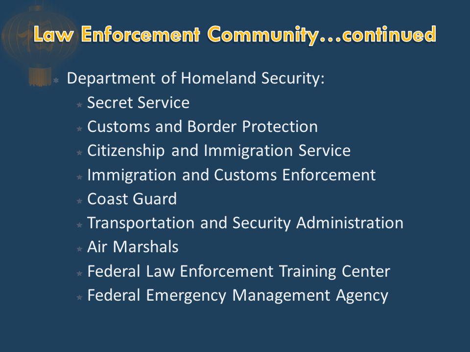 Miscellaneous Agencies:  Postal Inspectors  National Park Service Officers  Bureau of Indian Affairs  Federal Probation Officers  Supreme Court Police  U.S.