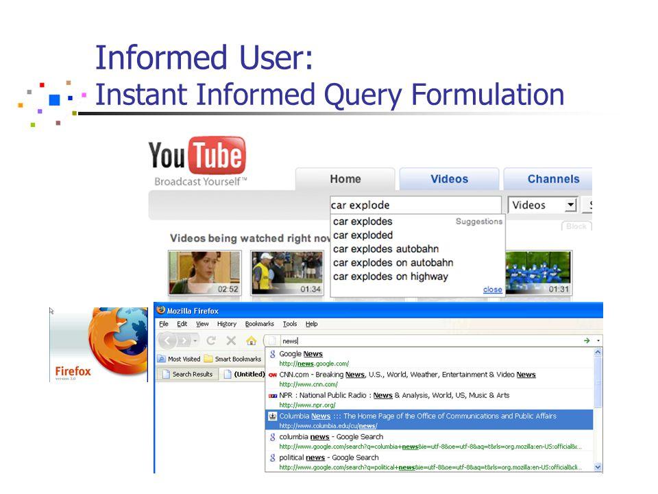Informed User: Instant Informed Query Formulation