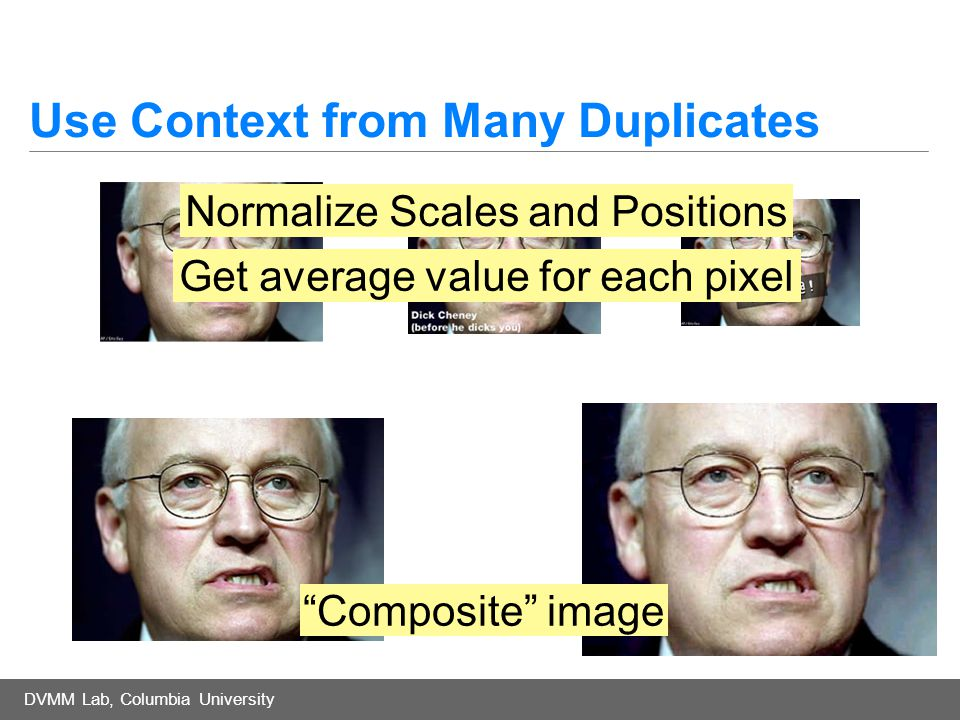 DVMM Lab, Columbia University Use Context from Many Duplicates Normalize Scales and Positions Get average value for each pixel Composite image