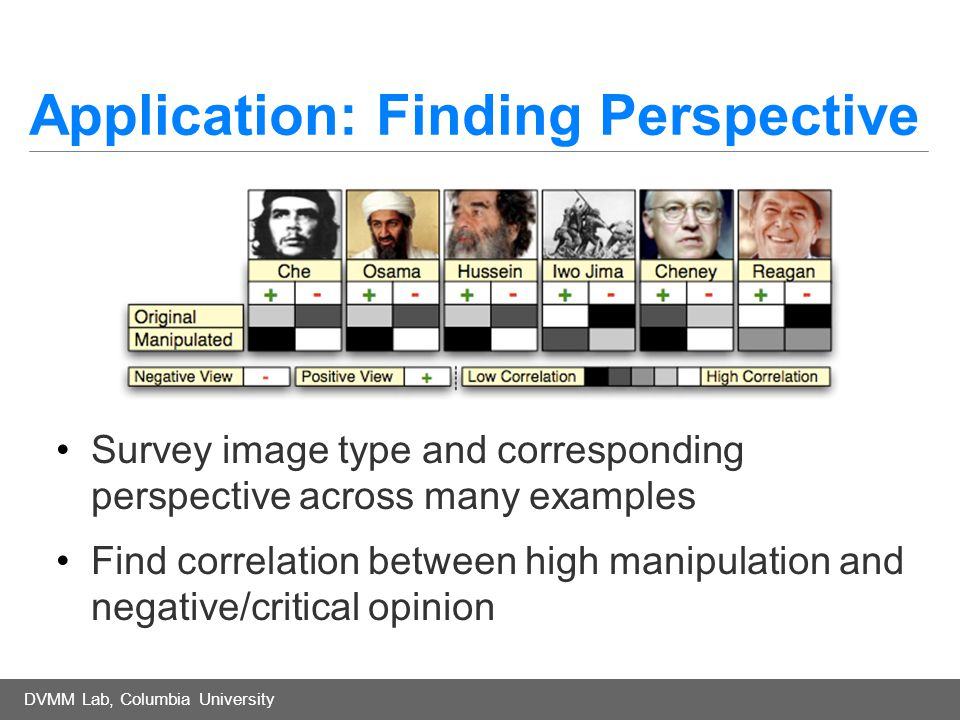 DVMM Lab, Columbia University Application: Finding Perspective Survey image type and corresponding perspective across many examples Find correlation between high manipulation and negative/critical opinion