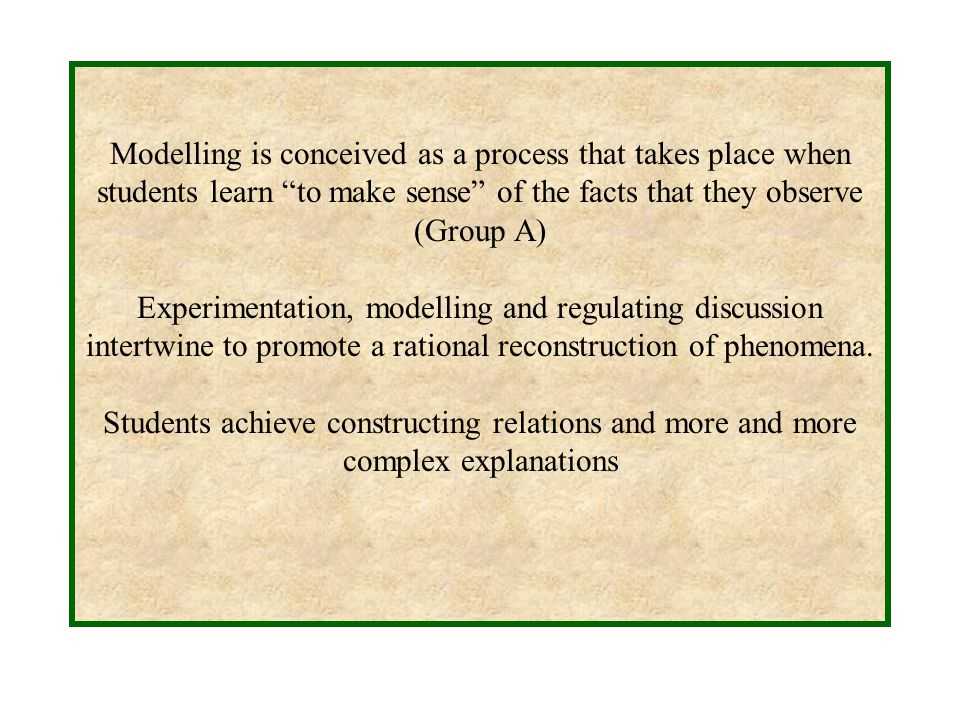 Modelling is conceived as a process that takes place when students learn to make sense of the facts that they observe (Group A) Experimentation, modelling and regulating discussion intertwine to promote a rational reconstruction of phenomena.