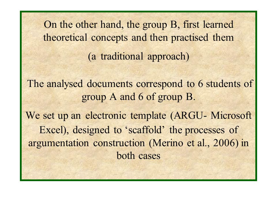 On the other hand, the group B, first learned theoretical concepts and then practised them (a traditional approach) The analysed documents correspond to 6 students of group A and 6 of group B.