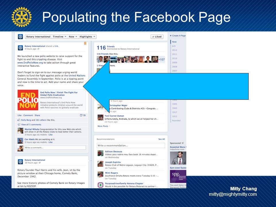 Populating the Facebook Page Mitty Chang mitty@mightymitty.com