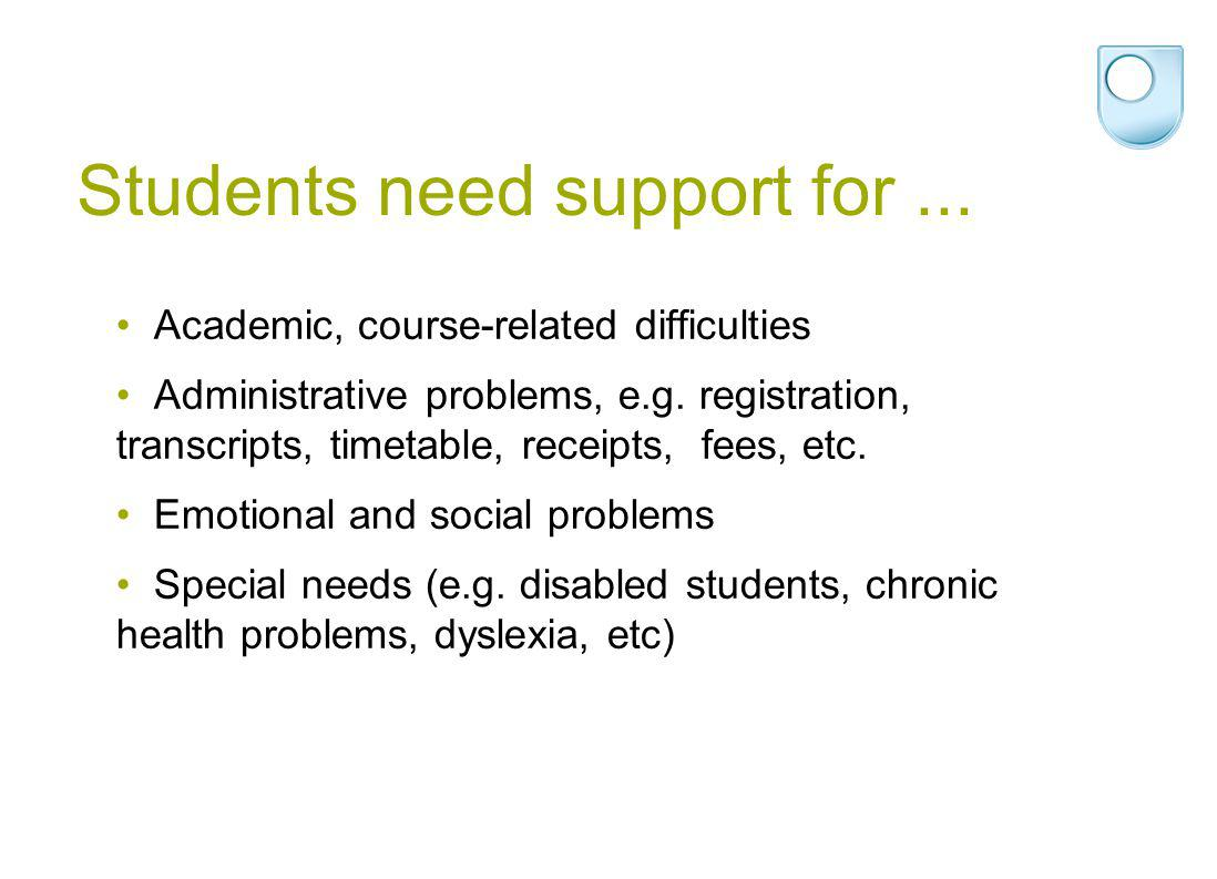 Students need support for... Academic, course-related difficulties Administrative problems, e.g.