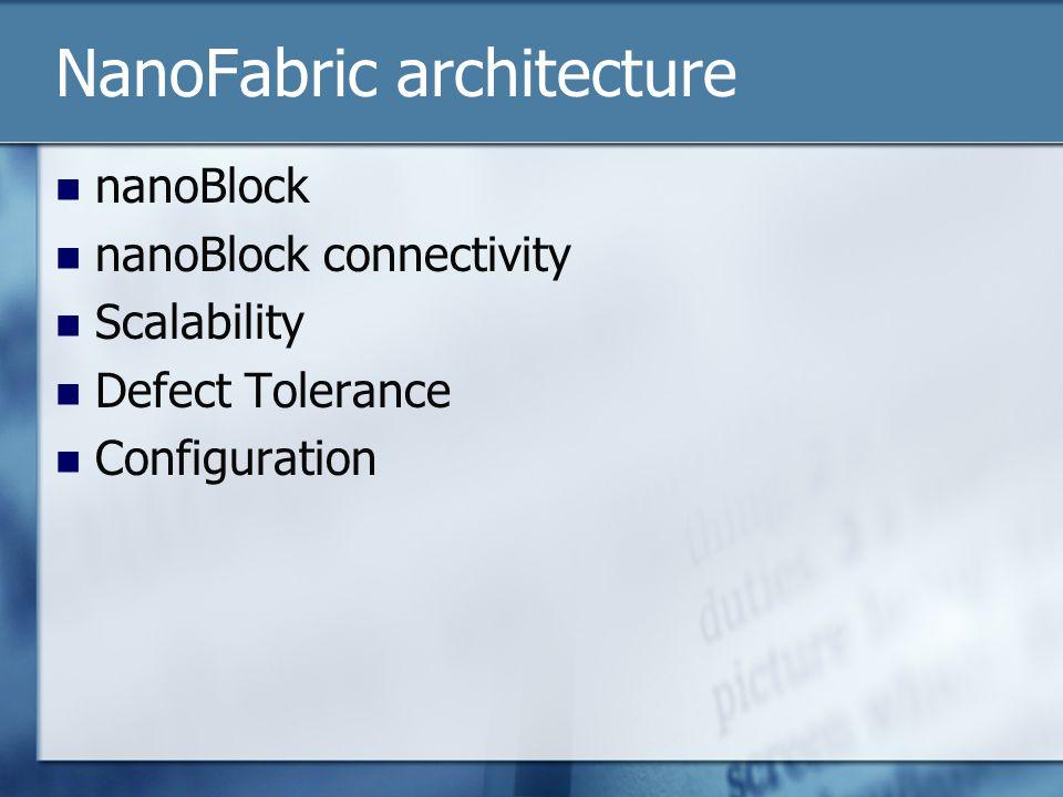 NanoFabric architecture nanoBlock nanoBlock connectivity Scalability Defect Tolerance Configuration
