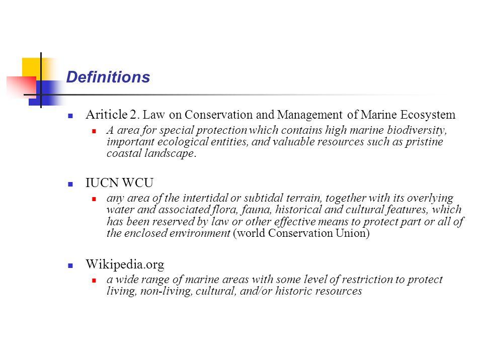 Major Statistics and Features of MPAs (Nam et al., 2004) (MOMAF, 2006) (Nam et al., 2004)  No.