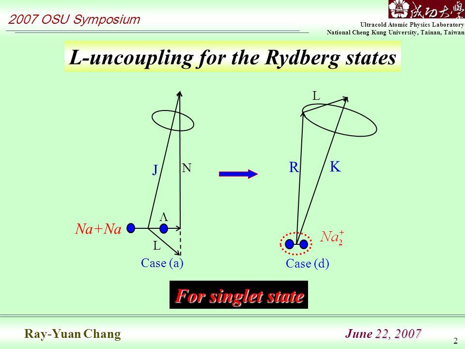 Ultracold Atomic Physics Laboratory National Cheng Kung University, Tainan, Taiwan 2007 OSU Symposium 22, 2007 Ray-Yuan Chang June 22, 2007 2 L-uncoupling for the Rydberg states L R K Case (d) Case (a) J N  L Na+Na For singlet state