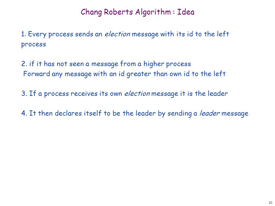 21 Chang Roberts Algorithm : Idea 1.