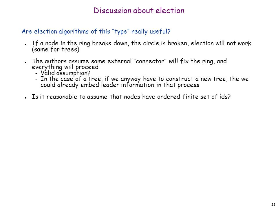 22 Discussion about election Are election algorithms of this type really useful.
