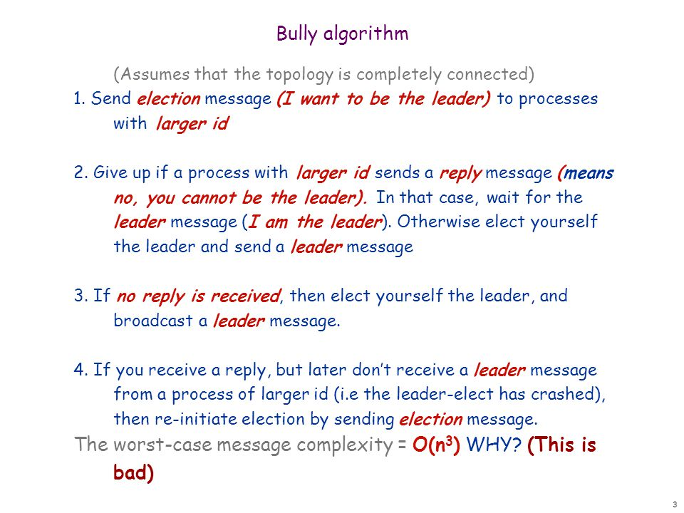 3 Bully algorithm (Assumes that the topology is completely connected) 1.