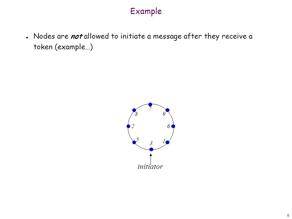 8 Example n Nodes are not allowed to initiate a message after they receive a token (example…) 3 5 1 98 26 7 initiator