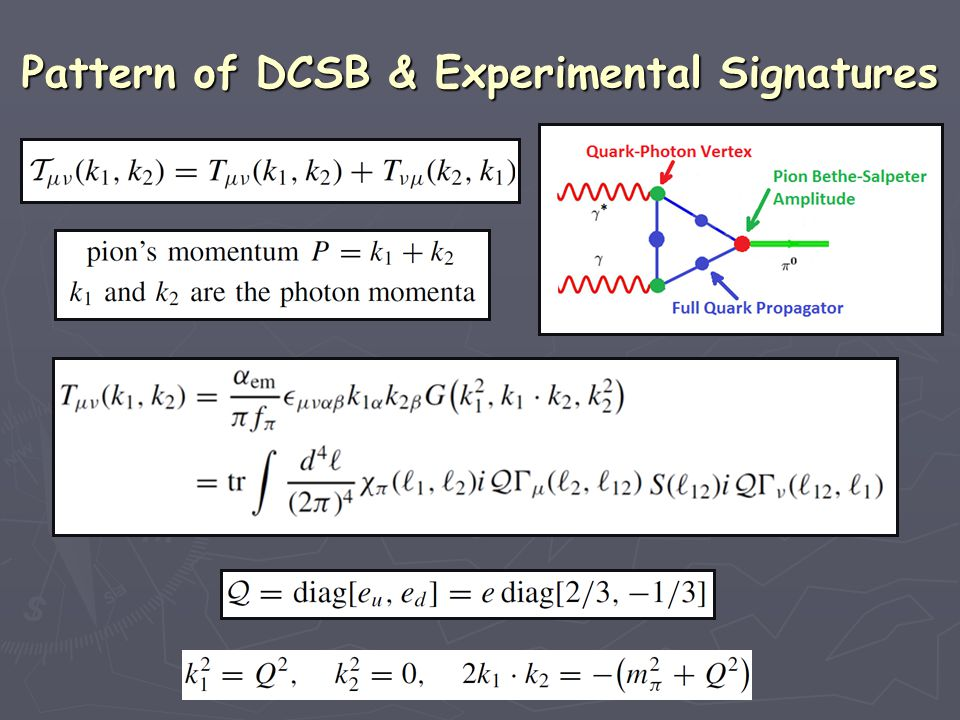 Pattern of DCSB & Experimental Signatures