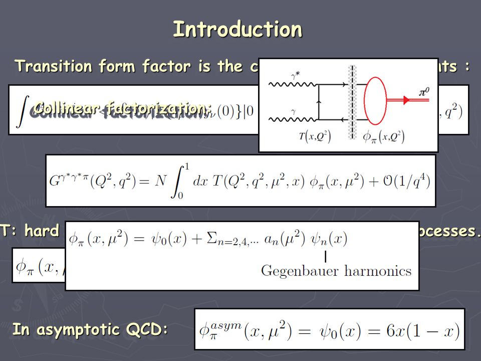 Collinear factorization: Collinear factorization: Collinear factorization: Collinear factorization: Transition form factor is the correlator of two currents : Transition form factor is the correlator of two currents : Transition form factor is the correlator of two currents : Transition form factor is the correlator of two currents : T: hard scattering amplitude with quark gluon sub-processes.