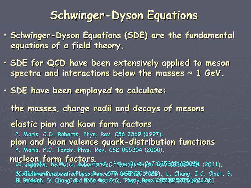 Schwinger-Dyson Equations Schwinger-Dyson Equations Schwinger-Dyson Equations Schwinger-Dyson Equations Schwinger-Dyson Equations (SDE) are the fundamental Schwinger-Dyson Equations (SDE) are the fundamental Schwinger-Dyson Equations (SDE) are the fundamental Schwinger-Dyson Equations (SDE) are the fundamental equations of a field theory.