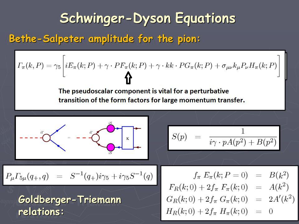 Bethe-Salpeter amplitude for the pion: Bethe-Salpeter amplitude for the pion: Bethe-Salpeter amplitude for the pion: Bethe-Salpeter amplitude for the pion: Goldberger-Triemann relations: Goldberger-Triemann relations: Schwinger-Dyson Equations Schwinger-Dyson Equations Schwinger-Dyson Equations Schwinger-Dyson Equations