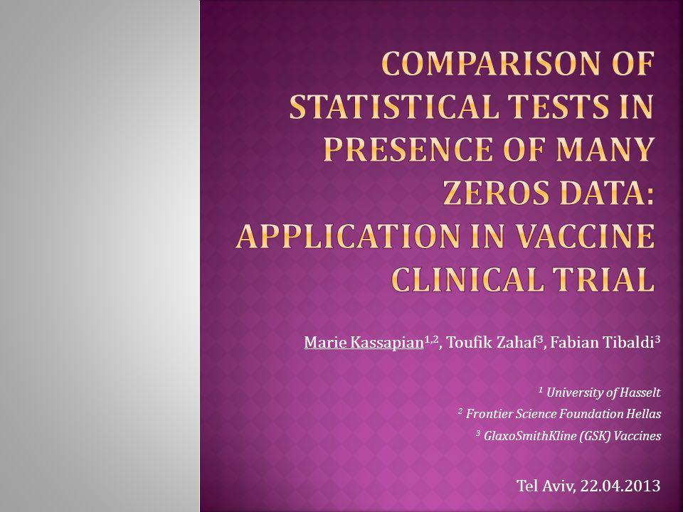 Marie Kassapian 1,2, Toufik Zahaf 3, Fabian Tibaldi 3 1 University of Hasselt 2 Frontier Science Foundation Hellas 3 GlaxoSmithKline (GSK) Vaccines Tel Aviv, 22.04.2013