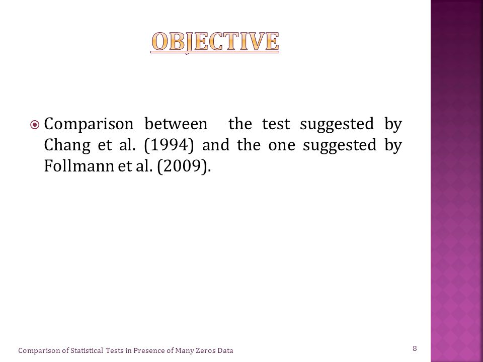  Comparison between the test suggested by Chang et al.