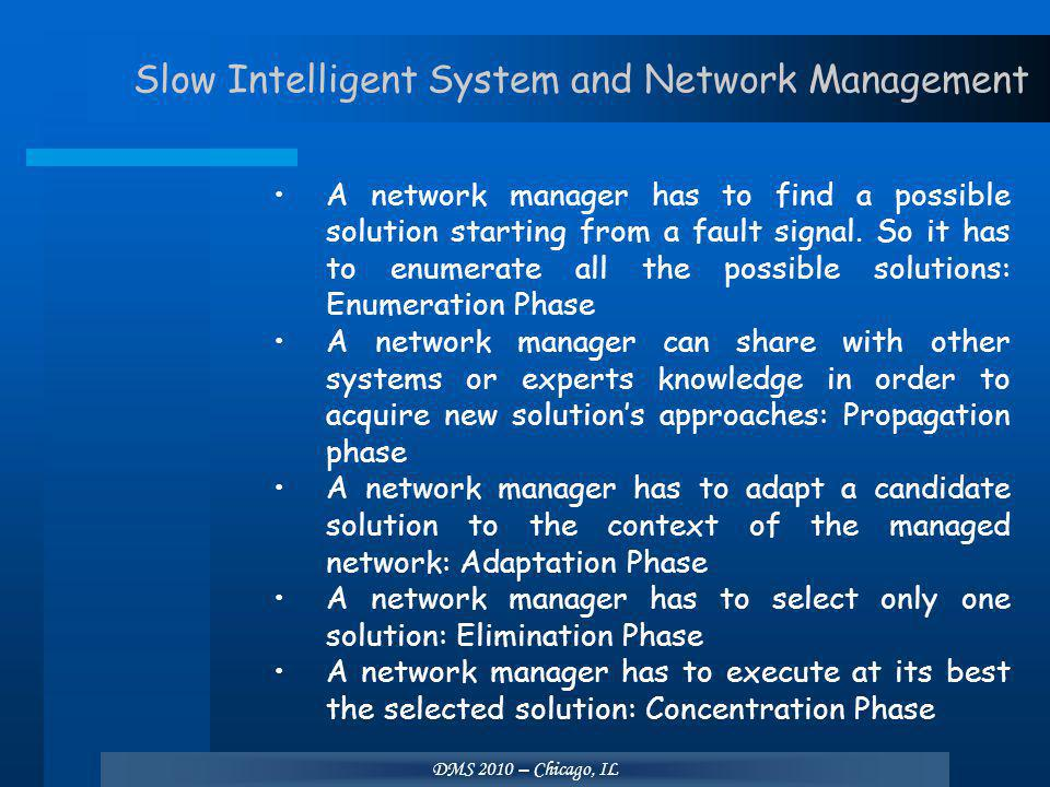 DMS 2010 – Chicago, IL Slow Intelligent System and Network Management A network manager has to find a possible solution starting from a fault signal.