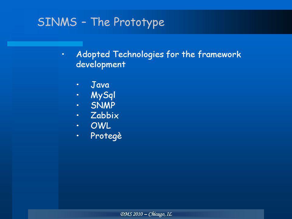 DMS 2010 – Chicago, IL SINMS – The Prototype Adopted Technologies for the framework development Java MySql SNMP Zabbix OWL Protegè