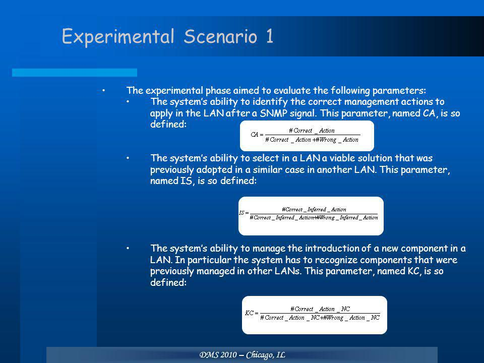 DMS 2010 – Chicago, IL Experimental Scenario 1 The experimental phase aimed to evaluate the following parameters: The system's ability to identify the correct management actions to apply in the LAN after a SNMP signal.